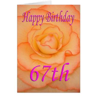 Tarjeta 67.a flor feliz del cumpleaños