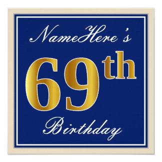 Tarjeta 69.o cumpleaños del oro elegante, azul, falso +