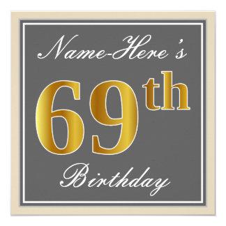 Tarjeta 69.o cumpleaños del oro elegante, gris, falso +
