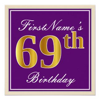 Tarjeta 69.o cumpleaños del oro elegante, púrpura, falso +