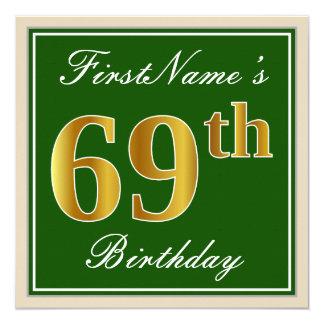 Tarjeta 69.o cumpleaños del oro elegante, verde, falso +