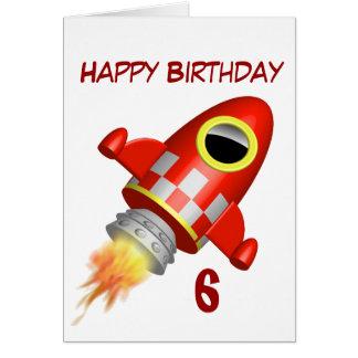 Tarjeta 6to pequeño tema de Rocket del feliz cumpleaños