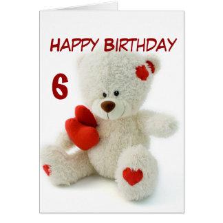 Tarjeta 6to tema del oso de peluche del feliz cumpleaños