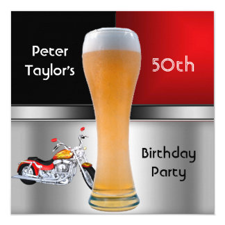 Tarjeta 70.a moto roja para hombre de la cerveza de la