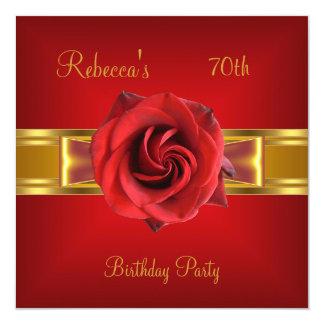 Tarjeta 70.o Arco rojo real colorido del oro amarillo de
