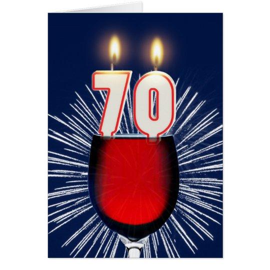 Tarjeta 70.o Cumpleaños con el vino y las velas