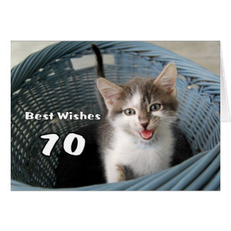 Tarjeta 70.o Gatito loco del cumpleaños