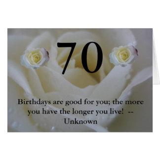 Tarjeta 70.o Saludo de la cita del rosa blanco del