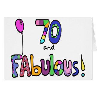 Tarjeta 70 y 70.o cumpleaños fabuloso, feliz, globo