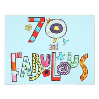 Tarjeta 70 y 70.o cumpleaños feliz fabuloso