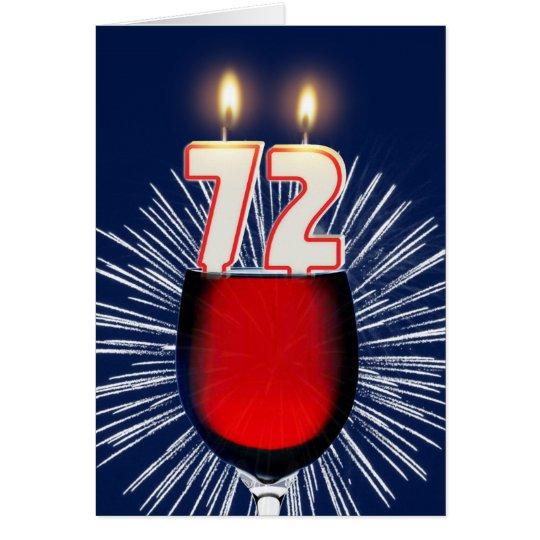 Tarjeta 72.o Cumpleaños con el vino y las velas