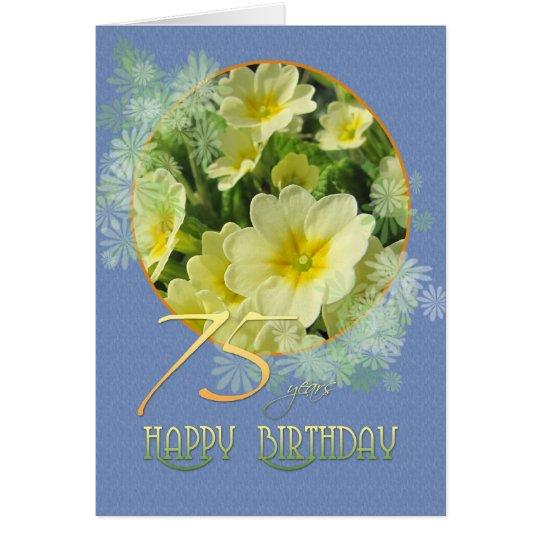 Tarjeta 75.o Primaveras y azul del cumpleaños