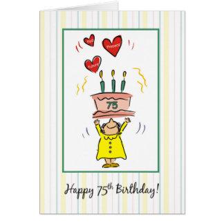 Tarjeta 75.o Torta y corazones de cumpleaños para la mujer