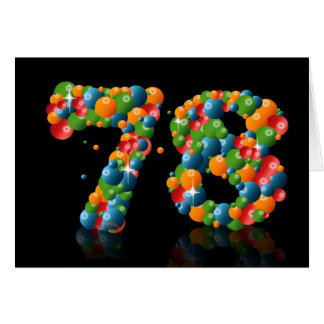Tarjeta 78.o cumpleaños con los números formados de bolas