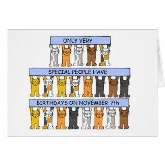 Tarjeta 7 de noviembre cumpleaños celebrados por los gatos