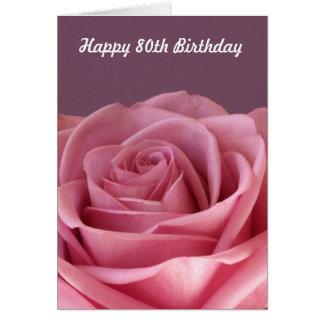 Tarjeta 80.o cumpleaños color de rosa