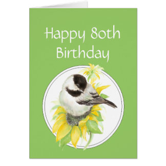 Tarjeta 80.o pájaro del girasol del Chickadee del