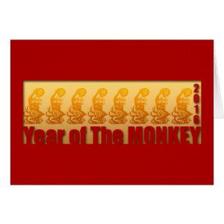 Tarjeta 8 monos por el Año Nuevo chino 2016 1 de saludo
