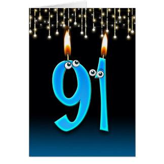 Tarjeta 91.o cumpleaños con las velas del globo del ojo