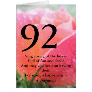 Tarjeta 92.o Cumpleaños