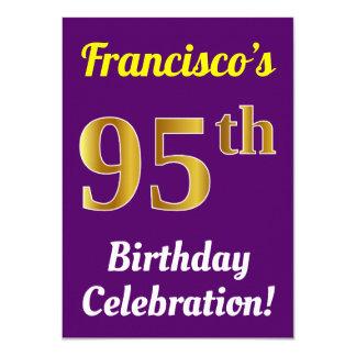 Tarjeta 95.a celebración del cumpleaños del oro púrpura,