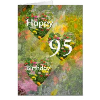 Tarjeta 95.o Corazones verdes bonitos del cumpleaños que