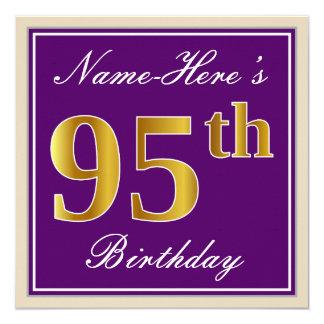 Tarjeta 95.o cumpleaños del oro elegante, púrpura, falso +