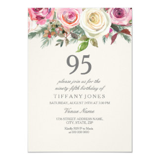 Tarjeta 96.o 97.o 98.o 99.o cumpleaños del rosa blanco