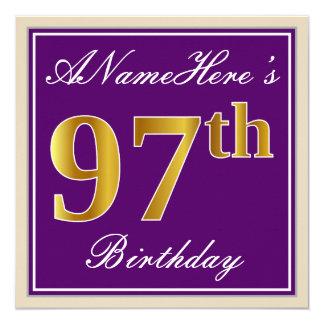 Tarjeta 97.o cumpleaños del oro elegante, púrpura, falso +