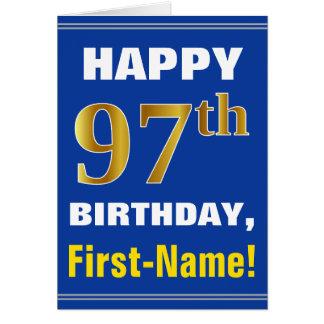 Tarjeta 97.o cumpleaños del oro intrépido, azul, falso con