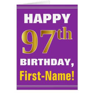 Tarjeta 97.o cumpleaños del oro intrépido, púrpura, falso
