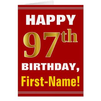 Tarjeta 97.o cumpleaños del oro intrépido, rojo, falso con