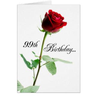 Tarjeta 99.o Rosa rojo del cumpleaños