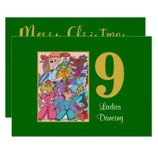 Tarjeta 9 señoras que bailan navidad lindo del