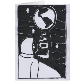Tarjeta A la luna y a la parte posterior