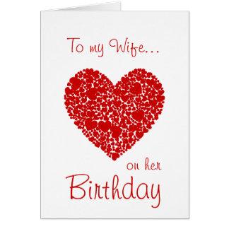 Tarjeta A mi esposa en sus corazones Cumpleaños-Rojos