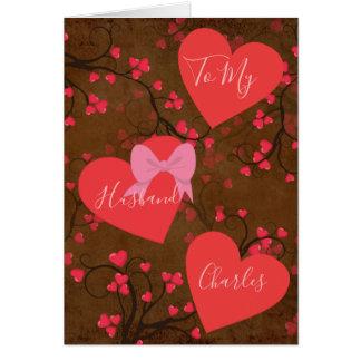 Tarjeta A mi marido en corazones del día de San Valentín