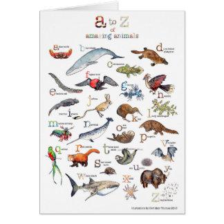 Tarjeta A-Z de animales asombrosos