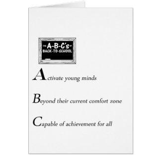 Tarjeta ABC de nuevo a la copia de la escuela