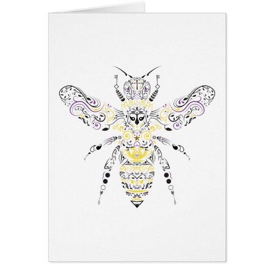 Tarjeta abeja adornada de la miel