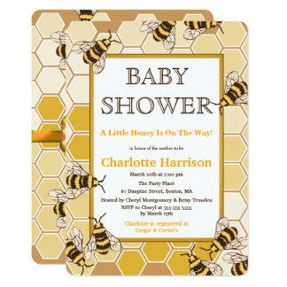 Tarjeta Abejas de la miel y fiesta de bienvenida al bebé