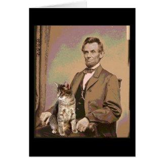 Tarjeta Abraham Lincoln y su gato Dixie