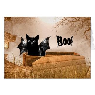 Tarjeta Abucheo de Halloween del gato del palo