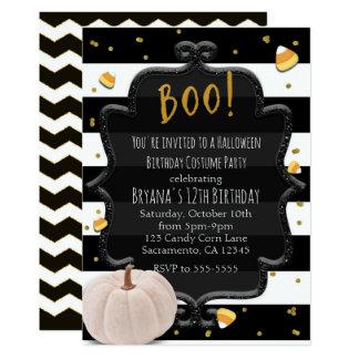 Tarjeta ¡ABUCHEO! Fiesta blanco de Halloween de la
