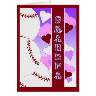 Tarjeta Abuelo - te amo más que usted béisbol del amor