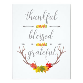 Tarjeta Acción de gracias agradecida bendecida agradecida