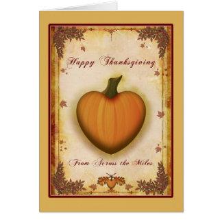 Tarjeta Acción de gracias del corazón a través de la