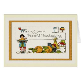 Tarjeta Acción de gracias del vintage