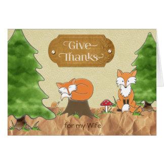 Tarjeta Acción de gracias para los zorros de maderas de la