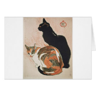 Tarjeta Acuarela - 2 gatos - Théophile Alejandro Steinlen
